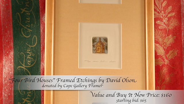 """""""Four Bird Houses"""" framed etchings donated by Cape Gallery Framer"""