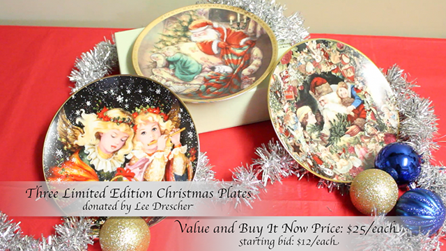 Three Limited Edition Christmas Plates donated by Lee Drescher