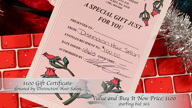 $100 Gift Certificate donated by Distinction Hair Salon